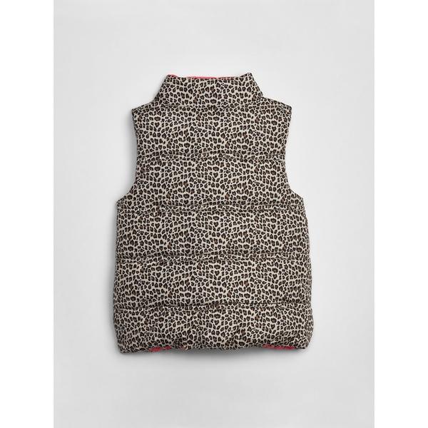 Gap女嬰幼童 柔軟保暖拉鏈羽絨馬甲 473648-豹紋