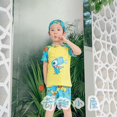兒童泳衣 男童分體防曬游泳衣速干套裝【奇趣小屋】