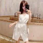 夜店女裝2019夏季新款白色V領夜總會性感修身露背包臀吊帶連身裙