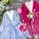 冰雪公主~織花荷葉V領飄逸雪花網紗長袖洋裝萬聖節小禮服-2色(300332)【水娃娃時尚童裝】
