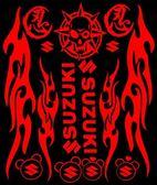 個性摩托車貼花反光貼紙鈴木火焰套貼踏板助力車反光貼套貼拉花【韓衣舍】