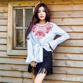 中大尺碼新款寬鬆顯瘦上衣女民族風喇叭袖短款t恤繡花長袖T恤 js8504『miss洛羽』