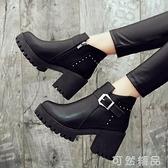 粗跟馬丁靴女新款秋冬季加絨百搭女鞋英倫風瘦瘦靴高跟短靴子 聖誕節全館免運