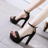 超高跟粗跟涼鞋子女夏一字帶模特防水台跳舞演出鞋 2020歐美T台鞋 露露日記