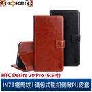 【默肯國際】IN7 瘋馬紋 HTC Desire 20 Pro (6.5吋) 錢包式 磁扣側掀PU皮套 手機皮套保護殼