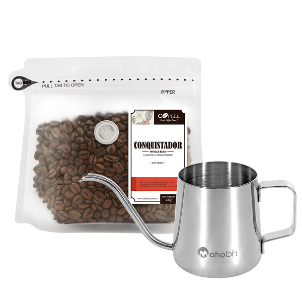 CoFeel 凱飛鮮烘豆哥斯大黎加征服者中深烘焙咖啡豆半磅+魔法瓶咖啡手沖細嘴壺(SO0063M)