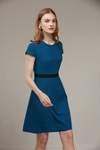 SST&C 女裝 寶藍圓領條紋腰帶洋裝 | 8562006004