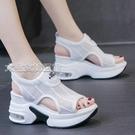 厚底涼鞋內增高運動涼鞋女夏季新款百搭時尚羅馬坡跟厚底飛織涼鞋 快速出貨
