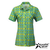 Polar Star 快乾格子短袖襯衫 女 綠 P15112