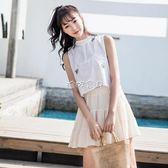 女性無袖針織上衣 薄款無袖白色背心女外穿露肚擠女裝韓版原宿 珍妮寶貝