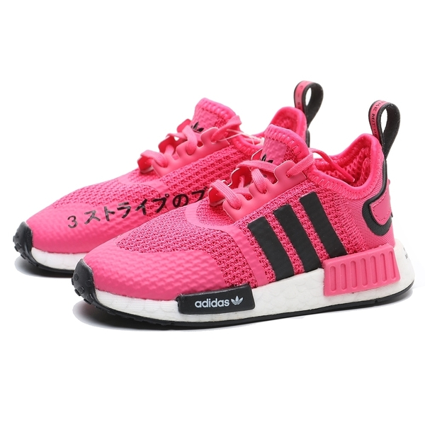 ADIDAS 慢跑鞋 NMD-R1EL I 桃白 日文 鞋帶 運動鞋 小童 (布魯克林) FW0425
