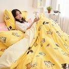 床包被套組 / 單人【逗柴貓黃】含一件枕套 高密度磨毛布 戀家小舖台灣製 柴犬 貓