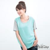 Victoria 異材質拼接配色上衣-女-湖綠-V8524750