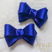 韓國直送-藍色緞面蝴蝶結鞋扣鞋夾配飾