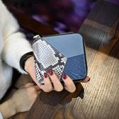 2018新款韓版拼接真皮短款小錢包女士時尚牛皮折疊撞色皮夾錢夾潮