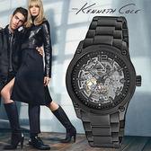 Kenneth Cole 帥氣黑鋼數字雙面鏤空黑鋼機械錶x43mm・公司貨保固2年・IKC9381|高雄名人鐘錶