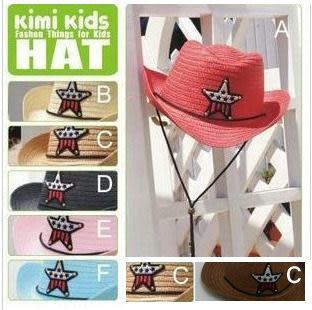 兒童夏季草帽遮陽帽五角星牛仔帽警長帽有鋼絲 大帽沿可挑色