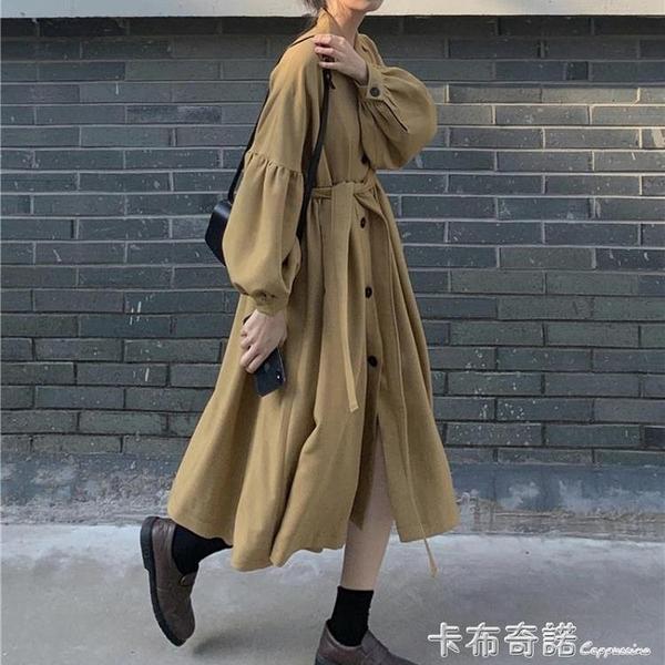 秋季韓版新款氣質收腰顯瘦風衣女中長款百搭寬鬆過膝休閒上衣外套 卡布奇諾