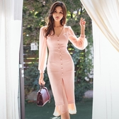 魚尾裙禮服新品女名媛時尚性感V領修身中長款魚尾包臀開叉連衣裙潮