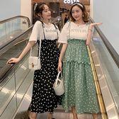 L-4XL中大尺碼假兩件連身裙胖仙女夏季新款顯瘦减齡字母T恤 圓點吊帶假兩件4F071-5129