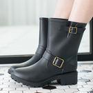 女款 歐美側邊釦環 中筒 雨靴 馬丁靴 ...