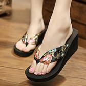 夏季絲綢布帶人字拖坡跟松糕鞋厚底LJ3594『miss洛羽』