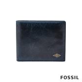 FOSSIL RYAN 簡約LOGO款男夾-藍色 ML3736400