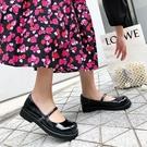 手工真皮女鞋34~39 2020新款日系學院風扣帶圓頭瑪麗珍鞋 小皮鞋 ~黑色