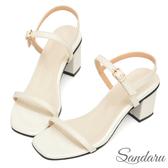 訂製鞋 簡約一字帶中跟涼鞋-白色下單區