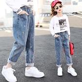 女童褲子春秋外穿洋氣2021年新款時尚寶寶薄款休閒長褲兒童牛仔褲 韓語空間