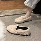 網紅毛毛鞋女秋新款加絨泰迪熊羊捲毛豆豆鞋一腳蹬時尚百搭懶人鞋