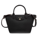 Longchamp經典Le Pliage硬皮革兩用中型水餃包(黑色)480601