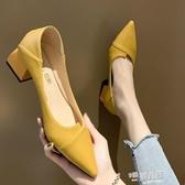 女鞋2020新款春季淺口尖頭女士中粗跟單鞋網紅晚晚兩穿黑色高跟鞋