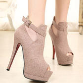靴子〃丁果女鞋► 高貴優雅公主風素色絨面釦環魚嘴高跟鞋晚宴婚鞋