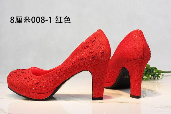 新款水晶粗跟高跟新娘鞋紅色銀色伴娘水?閃亮防水台舞蹈結婚女鞋