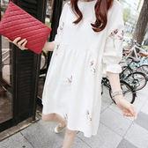 【愛天使孕婦裝】韓版(91449)純棉 刺繡優雅風上衣 韓版小洋裝