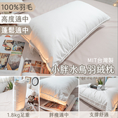 小胖水鳥羽絨枕 1.8kg剛剛好的蓬鬆 支撐佳 台灣製 枕頭