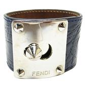 FENDI 藍色牛皮鱷魚壓紋金屬鉚釘手環 8AG044【二手名牌 BRAND OFF】