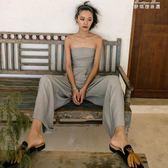 度假女王沙灘褲抹胸連體褲女夏高腰長褲修身收腰闊腿褲灰色 麥琪精品屋