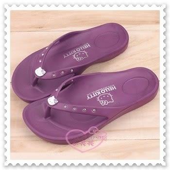♥小花花日本精品♥ Hello Kitty 粉色水鑽一體成型好穿防水夾腳拖/涼鞋 紫色 910627