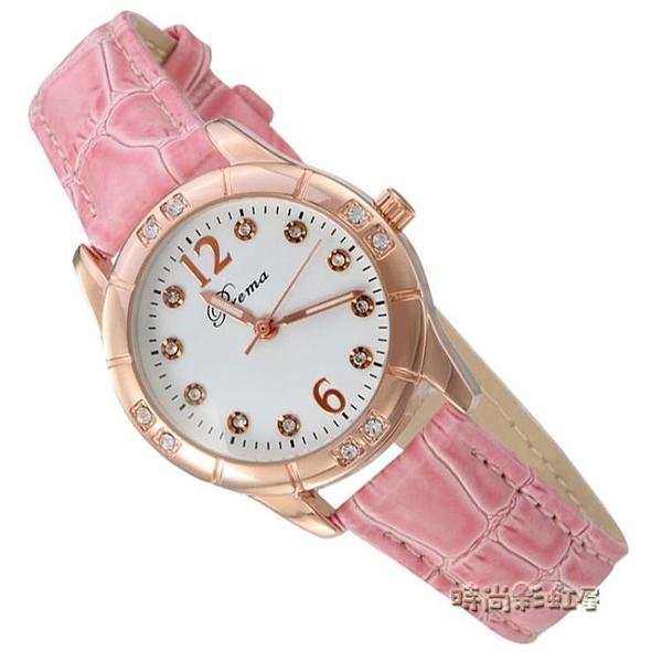 夜光韓版女錶皮帶時尚可愛學生防水少女手錶女時裝錶女士手錶女孩「時尚彩紅屋」