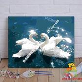 diy數字油畫定制 天鵝 手繪情侶風景大幅客廳臥室玄關裝飾畫【樂淘淘】