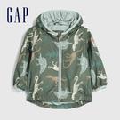 Gap 嬰兒 童趣恐龍印花開襟連帽外套 577201-復古棕櫚色