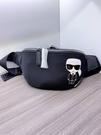 ■專櫃88折■ 全新真品■Karl Lagerfeld黑色 K/IKONIK 老佛爺尼龍腰包