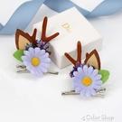 日韓森女系花朵鹿角發夾寫真花環麋鹿對夾邊夾聖誕節頭飾發飾女 color shop