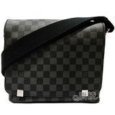 【Louis Vuitton 路易威登】N41028經典Damier District PM系列肩背/斜背信差包(黑灰色)
