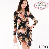 LIYO理優MIT古典印花綁帶洋裝E636010