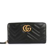 【GUCCI】GG Marmont牛皮 ㄇ型拉鍊長夾(黑色) 443123 DTD1T 1000