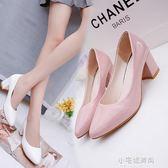 春秋季白色小皮鞋女尖頭高跟單鞋女粗跟大碼工作鞋舒適女鞋子『小宅妮時尚』