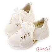 amai極輕量織帶甜美老爹鞋 白